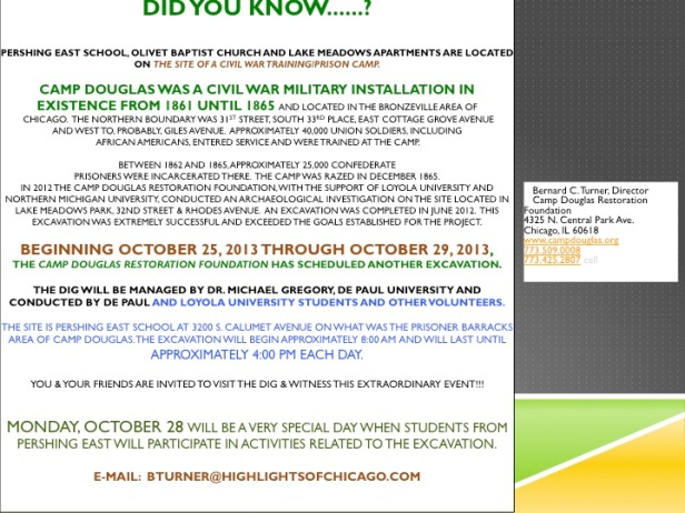 Camp Douglas Dig - October 25-29,2013
