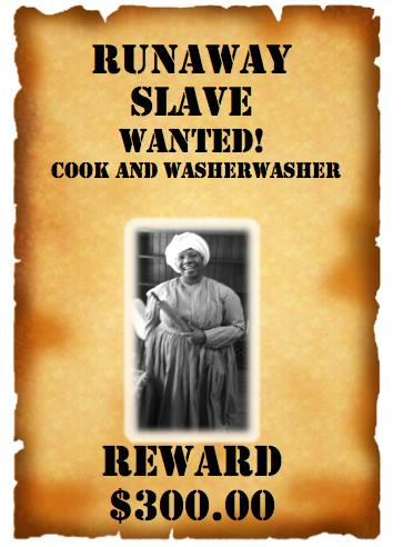 Sherry Williams in runaway slave wanted poster